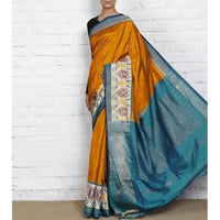 Mustard Handwoven Pochampally Silk Saree - rang