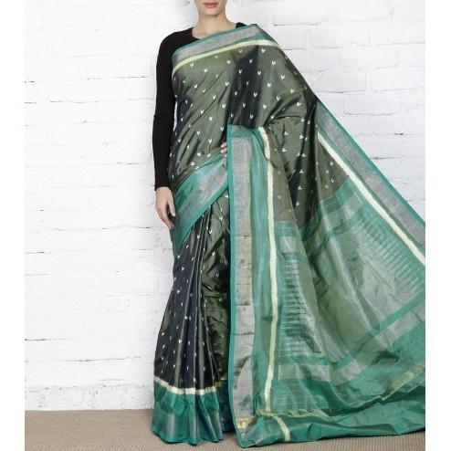 Green & Blue Handwoven Pochampally Silk Saree - rangoutlet.com