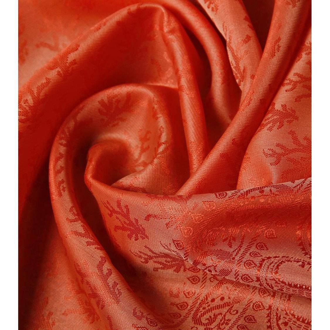 Orange Cotton Silk Stole - rangoutlet.com