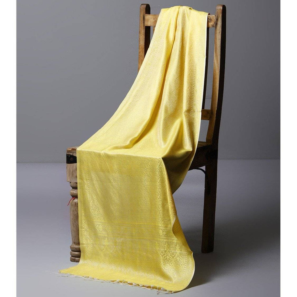 Yellow Cotton Silk Stole - rangoutlet.com