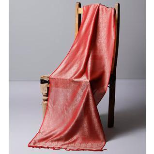 Red Cotton Silk Stole - rangoutlet.com