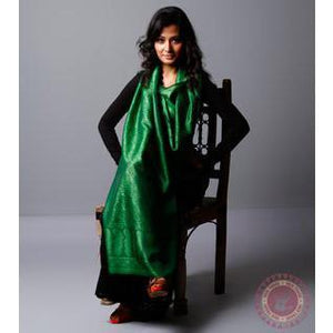 Green Cotton Silk Stole - rangoutlet.com