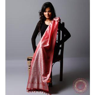 Dull Red Cotton Silk Stole - rangoutlet.com