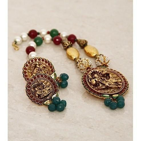 Multicoloured Embellished Temple Necklace Set - rangoutlet.com