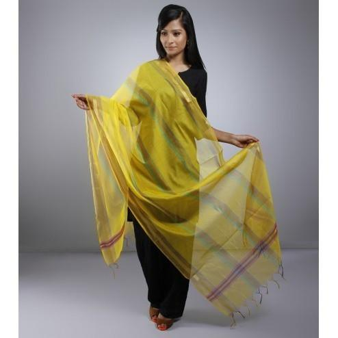 Yellow Dupatta With Zari Work - rangoutlet.com