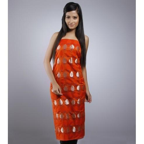 Orange Unstitched Chanderi Silk Kurta - rangoutlet.com