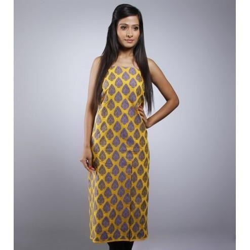 Yellow Unstitched Chanderi Cotton Kurta - rangoutlet.com