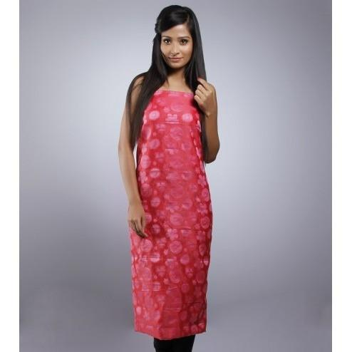 Red Unstitched Chanderi Cotton Kurta - rangoutlet.com