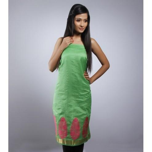 Green Unstitched Chanderi Cotton Kurta - rangoutlet.com