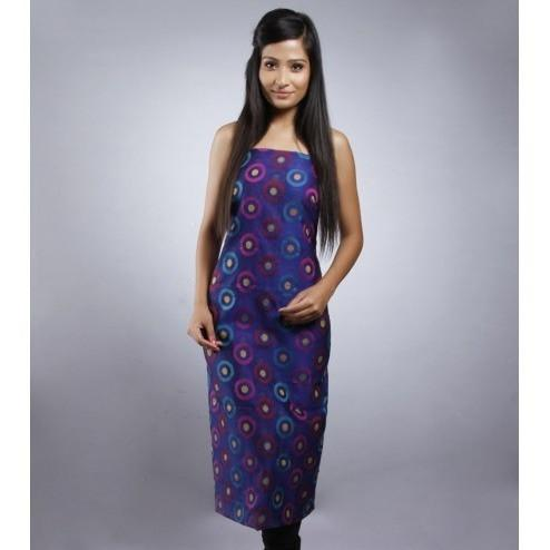 Blue & Purple Unstitched Chanderi Cotton Kurta - rangoutlet.com