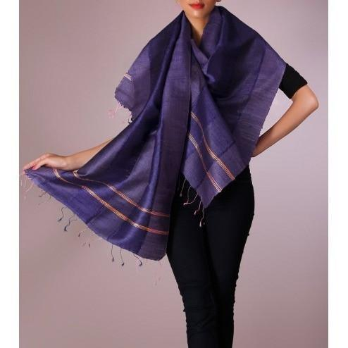 Blue Handwoven Raw Silk Stole - rang