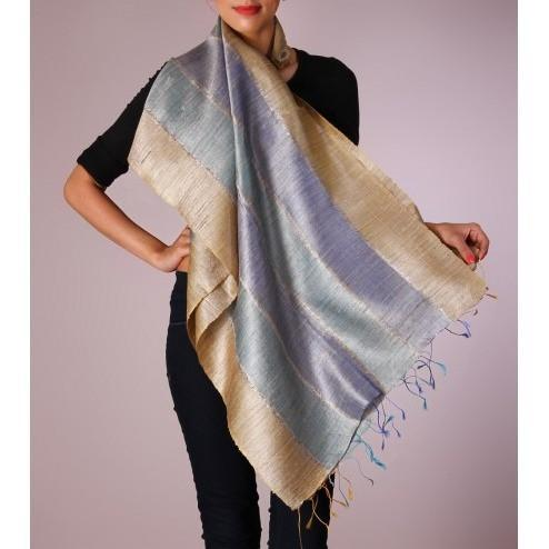 Golden, Grey & Blue Handwoven Raw Silk Stole - rangoutlet.com