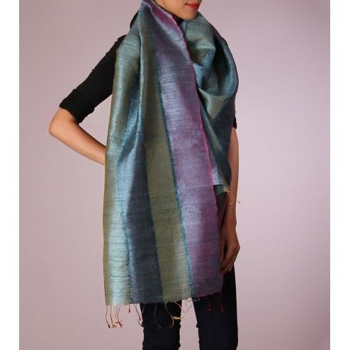 Sea Blue & Green Striped Handwoven Raw Silk Stole