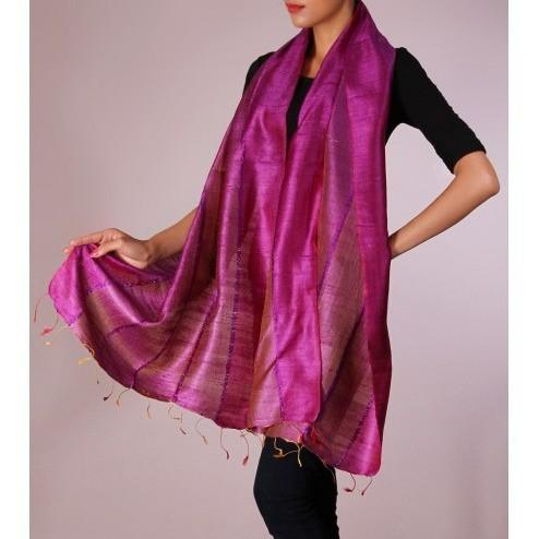 Pink Handwoven Raw Silk Stole