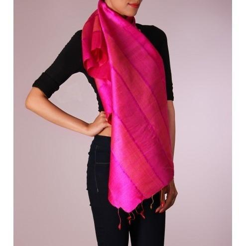 Pink & Orange Striped Handwoven Raw Silk Stoles - rangoutlet.com