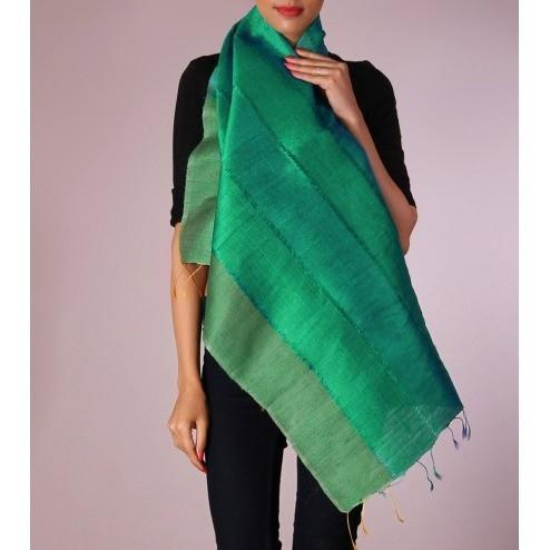 Green Striped Handwoven Raw Silk Stole - rangoutlet.com