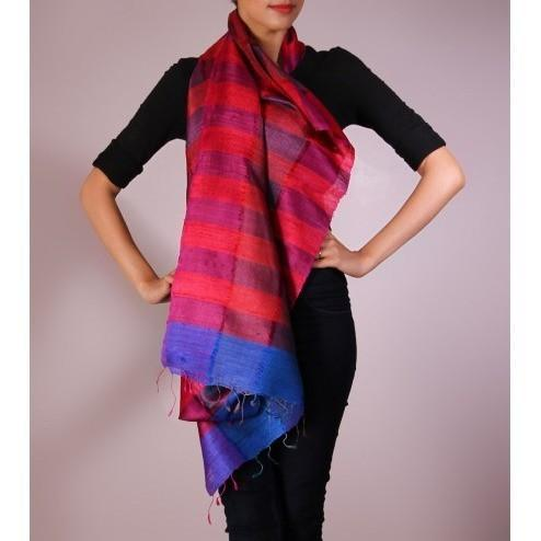 Pink & Purple Striped Handwoven Raw Silk Stole - rang