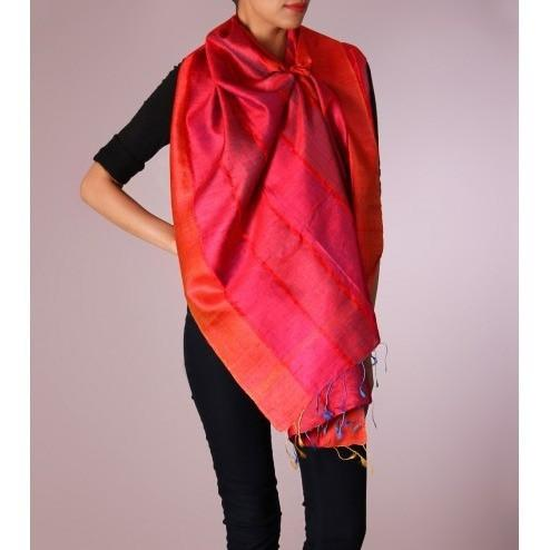 Pink & Orange Striped Handwoven Raw Silk Stole - rang