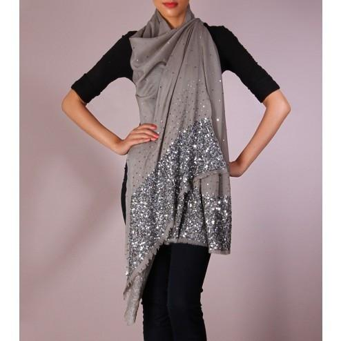 Grey Sequined Cashmere Shawl - rangoutlet.com