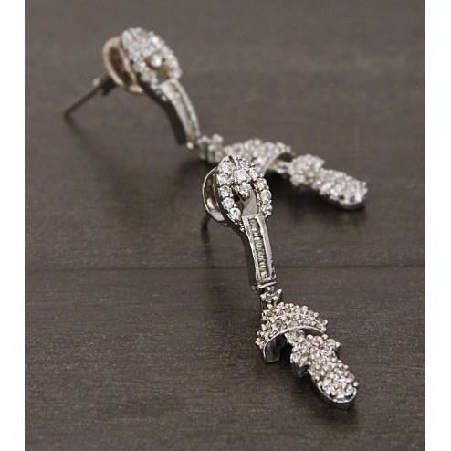 Silver Embellished Earrings (100000061676) - rangoutlet.com