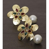 Golden Embellished Earrings (100000061627) - rangoutlet.com