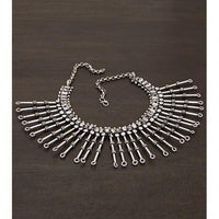 Silver Embellished Necklace (100000061633) - rangoutlet.com