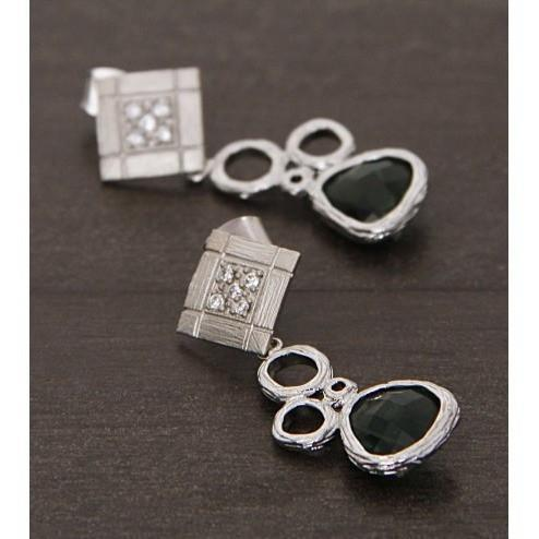 Silver and Green Embellished Earrings - rangoutlet.com