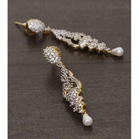 Golden and Silver Embellished Earrings (100000061544) - rangoutlet.com