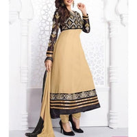 Beige Embroidered Georgette Anarkali Suit - rang