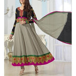 Grey and Black Embroidered Georgette Anarkali Suit - rang