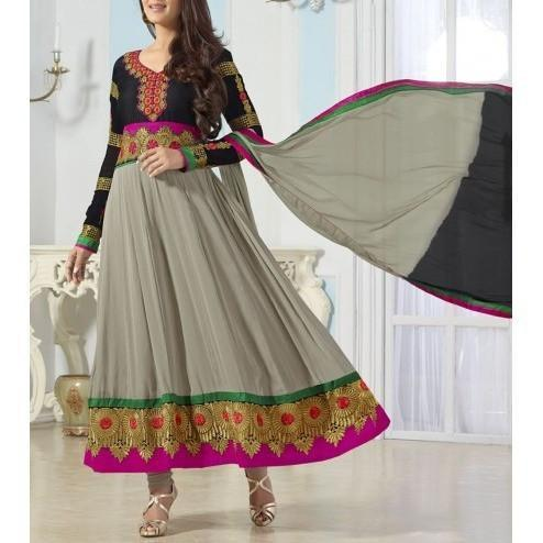 Grey and Black Embroidered Georgette Anarkali Suit - rangoutlet.com