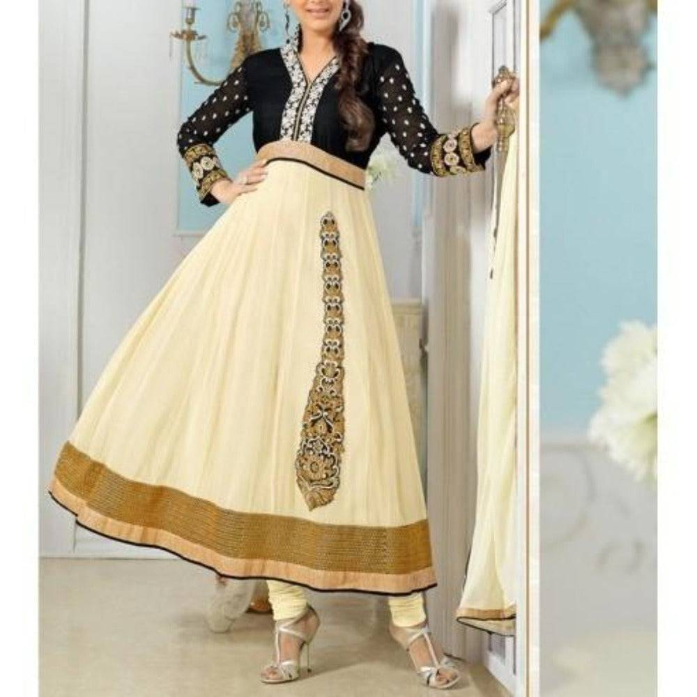 Cream Embroidered Georgette Anarkali Suit - rangoutlet.com