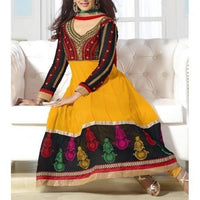 Yellow Embroidered Georgette Anarkali Suit - rangoutlet.com