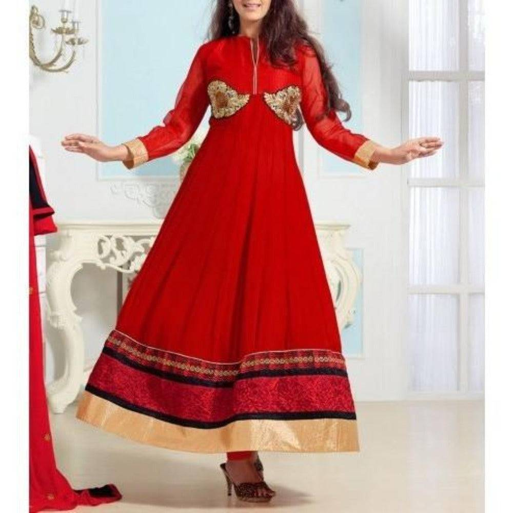 Red Embroidered Georgette Anarkali Suits - rangoutlet.com