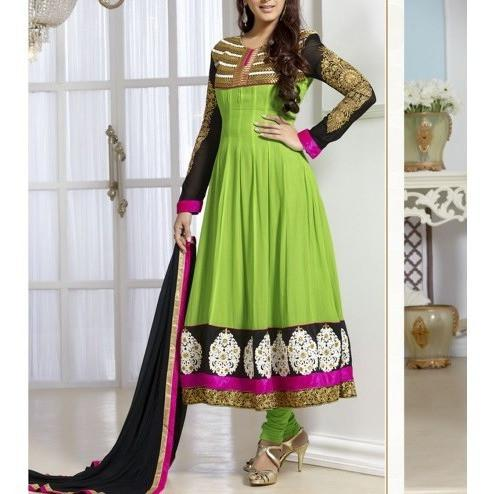 Parrot Green Embroidered Georgette Anarkali Suit - rangoutlet.com
