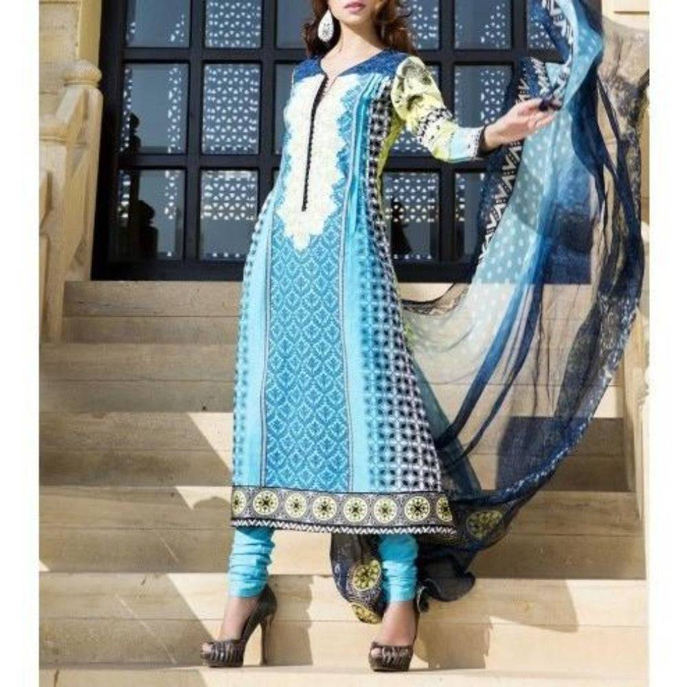 Blue & Green Cotton Unstitched Churidar Suit - rangoutlet.com