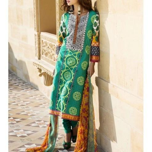 Green Cotton Unstitched Churidar Suit - rangoutlet.com