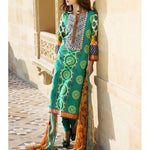 Green Cotton Unstitched Churidar Suit - rang