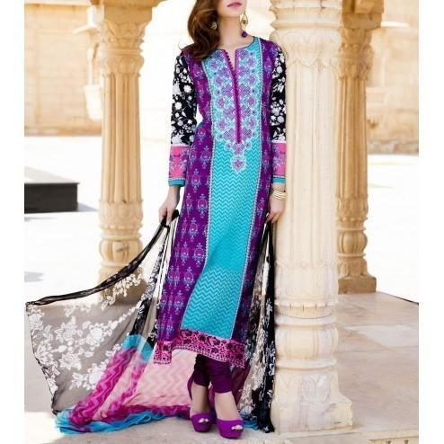 Purple & Blue Cotton Unstitched Churidar Suit - rangoutlet.com