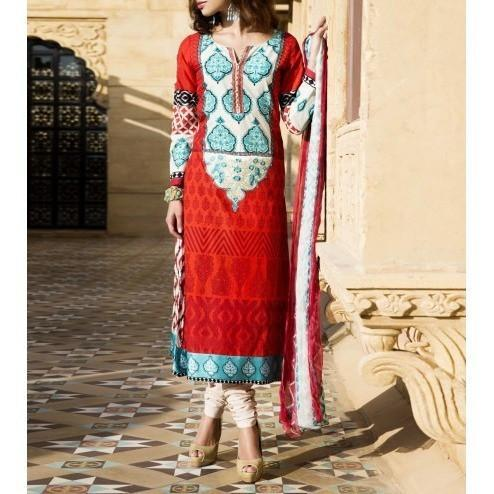 Maroon & Cream Cotton Unstitched Churidar Suit - rangoutlet.com