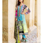 Blue & Orange Cotton Unstitched Churidar Suit - rangoutlet.com