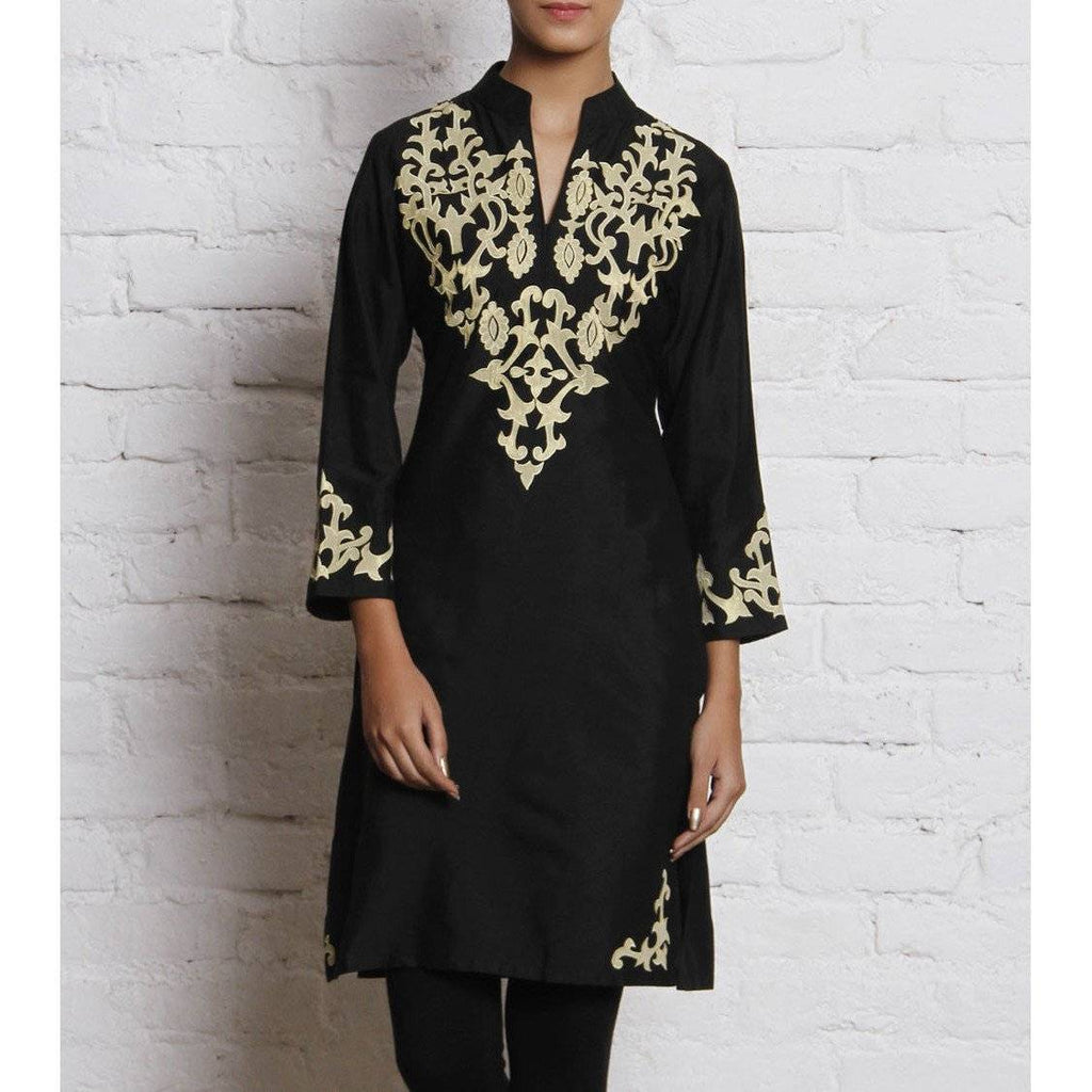 Black Embroidered Katan Silk Kurti - rangoutlet.com