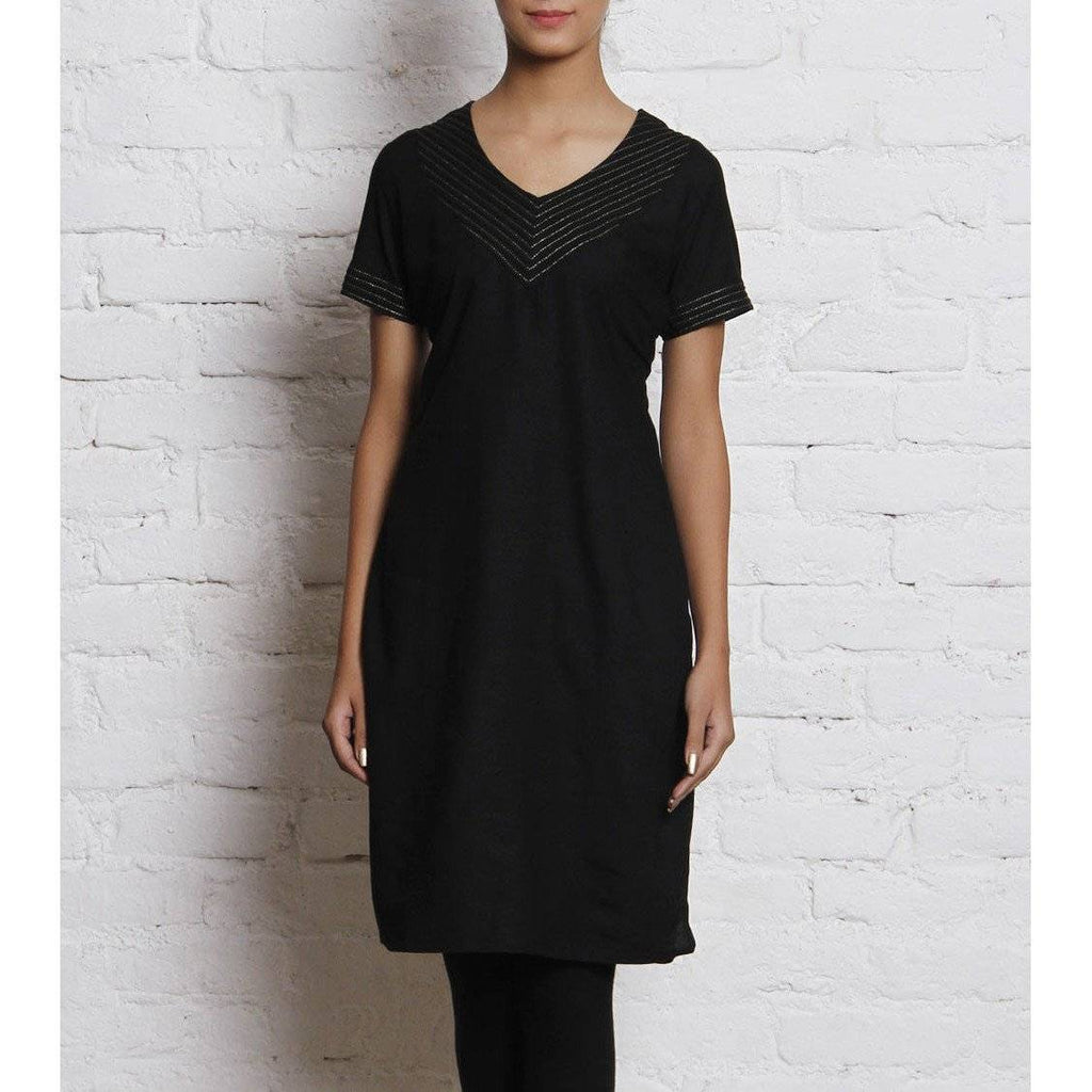 Black Embroidered Linen Kurti - rangoutlet.com