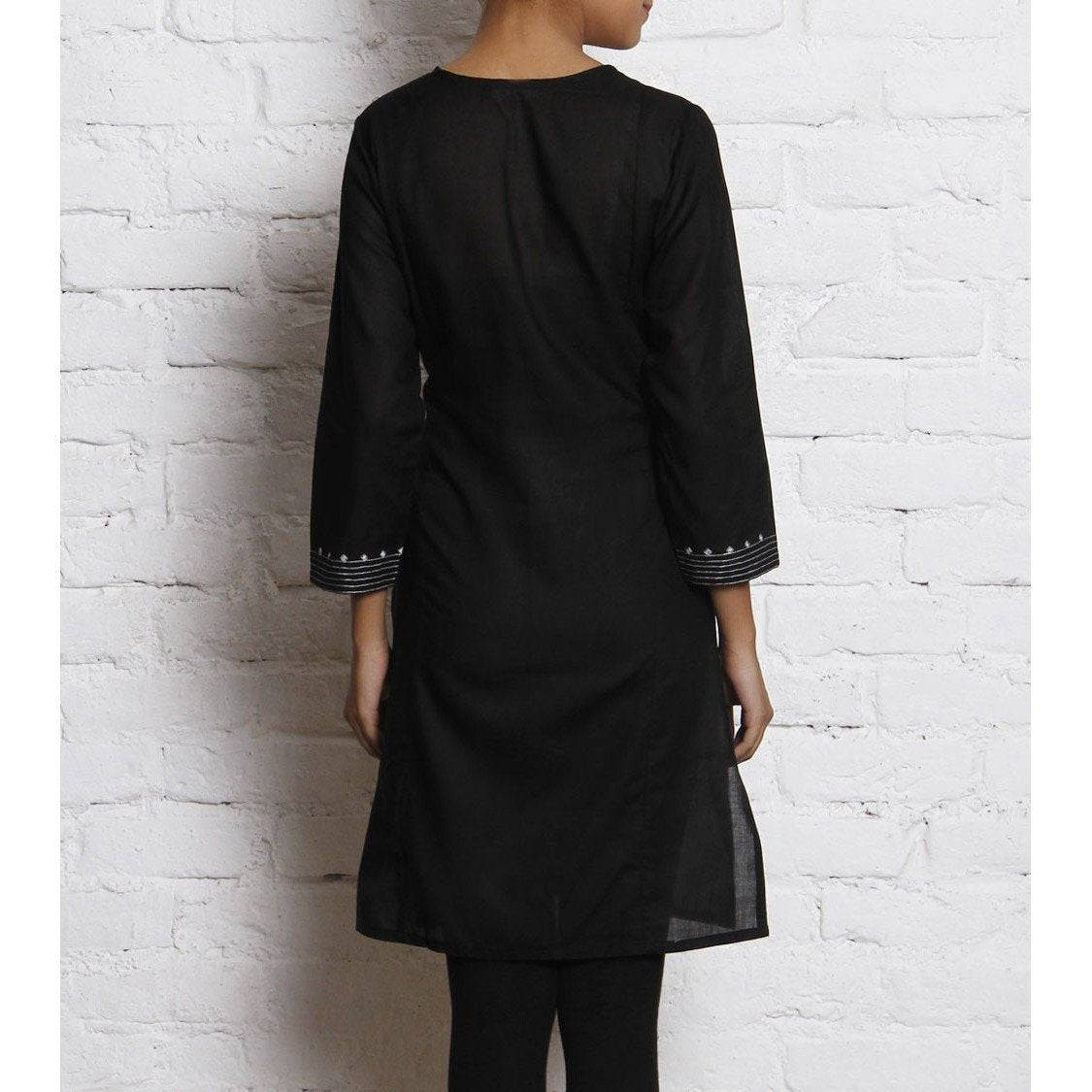 Black Embroidered Voile Kurti - rangoutlet.com