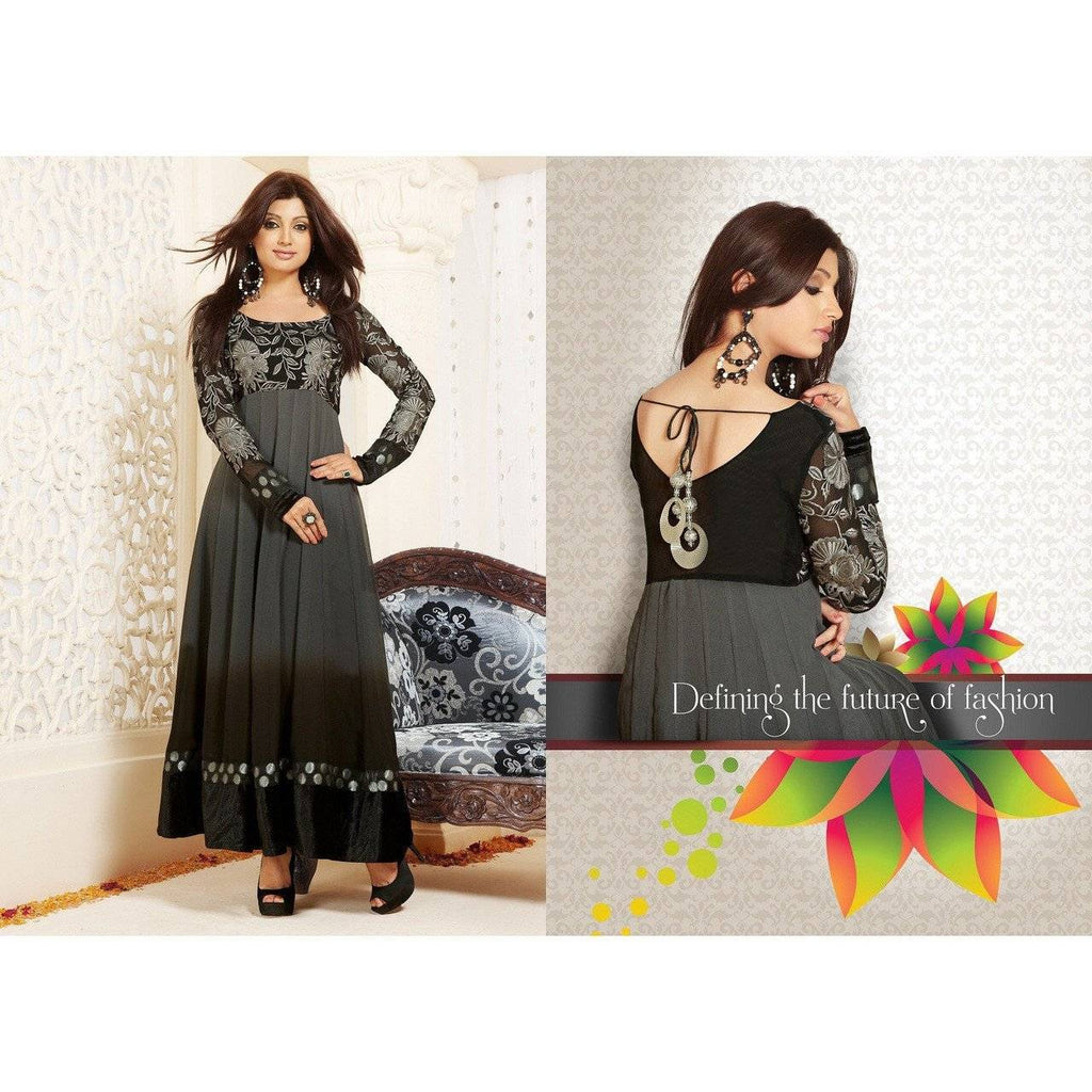 Hypnotex - Black Elegant Salwar Suits with Embroidery work with velvet lace border - rangoutlet.com