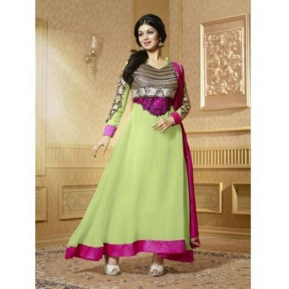 Georgette Green Zari Work Semi Stitched Long Anarkali Suit - 15004 - rangoutlet.com