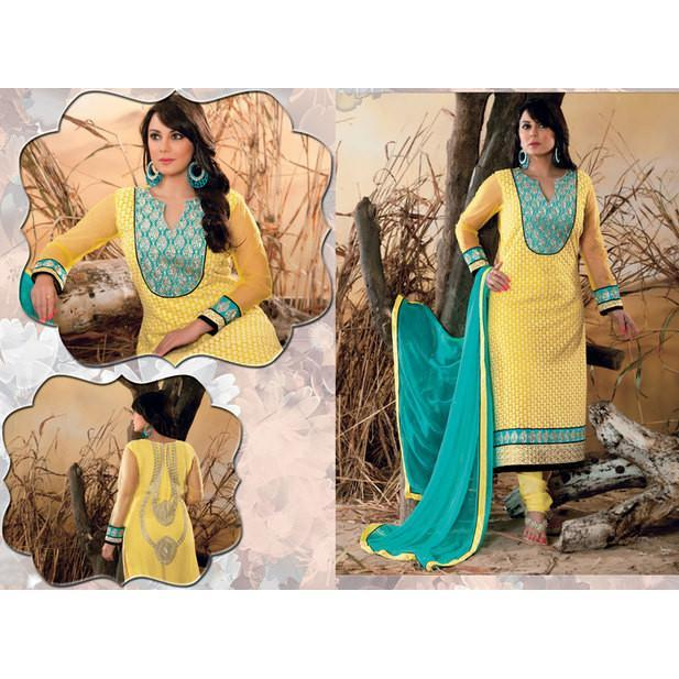 Hypnotex - Yellow Net Santoon Chiffon Semi Stitch Salwar Kameez/Suits Dress - rangoutlet.com