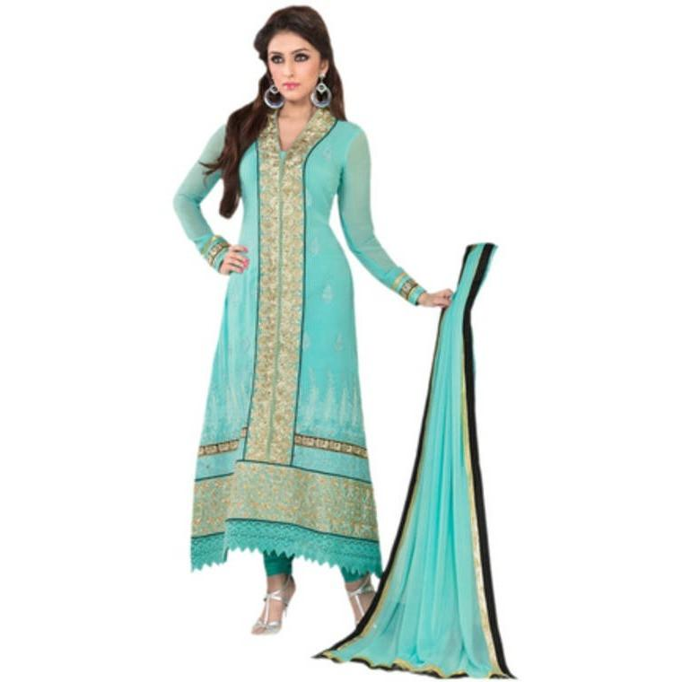 Hypnotex - Blue Georgette semi stitch salwar kameez dress divya2509 - rangoutlet.com