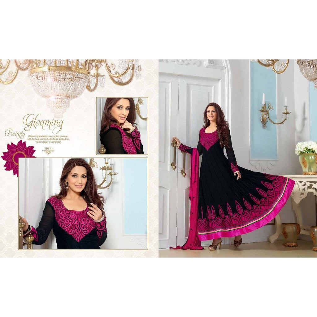 Black Faux Georgette Embroidered Salwar Suits 31030 - rangoutlet.com