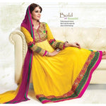 Yellow & Magenta Georgette Anarkali Salwar Kameez with Dupatta-432-1301